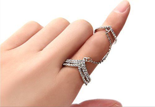 Babeyond® Charm Rhinestones Crystal Chain Link Finger Double V Open Ring Knuckle Free Size (Silver) (double v) BABEYOND http://www.amazon.com/dp/B01BAN02D0/ref=cm_sw_r_pi_dp_uRG0wb0FD1DEH