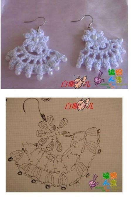 Crochet earrings pattern (diagram) #freepattern #crochet | jewellery ...