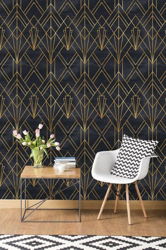 Black Peel And Stick Paint Pitch Black In 2020 Home Wallpaper Art Deco Wallpaper Art Deco Interior
