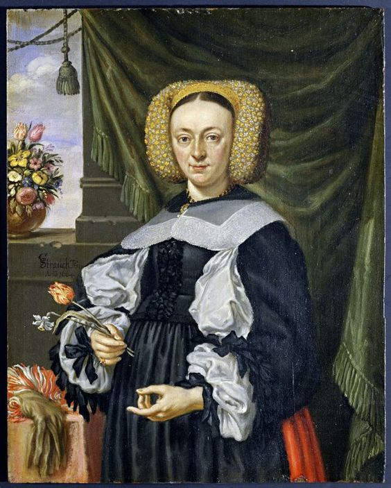 Portrait of a woman with flowers, Georg Stauch, oil on canvas, 1664, Nuernberg, Germany.