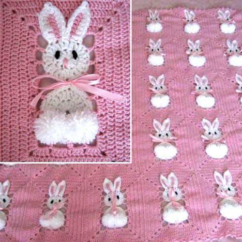 Crochet For Children: Bunny Blanket - Free Crochet Diagram ...