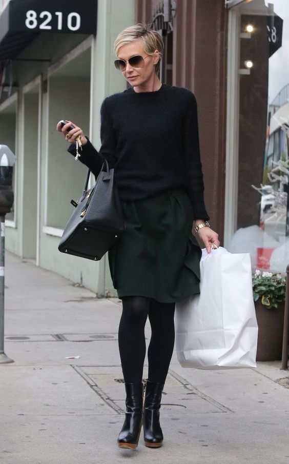 Try Chic Dark Layers Like Portia de Rossi - 20 Ways to Stay Warm and Stylish Like a Celeb - Photos