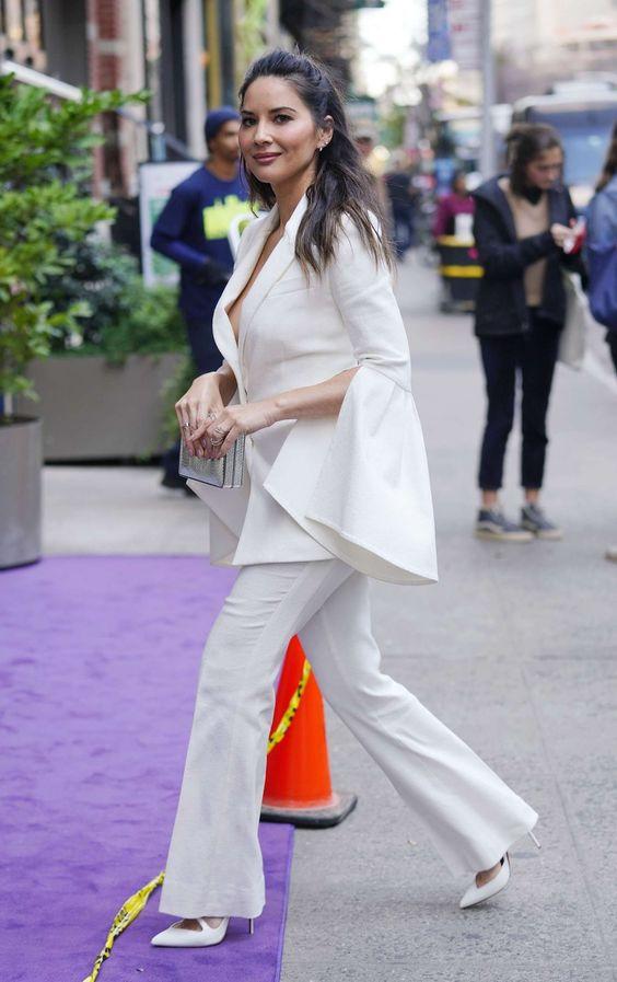 Olivia Munn closet Formfitting white Prabal Gurung crepe blazer White