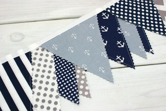 Bunting banner photography prop fabric flags baby for Nautical nursery fabric
