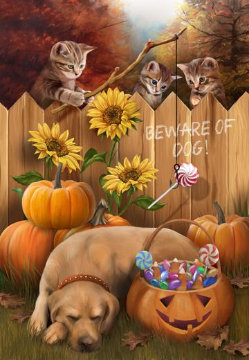 The Great Candy Heist - kitten plot stealing candy from big dog while he sleeps - humor funny joke Halloween iPhone wallpaper background holiday Halloween art - lock screen