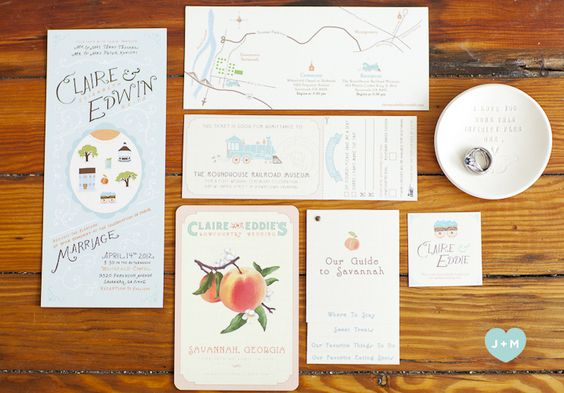 Peachy keen wedding invites.