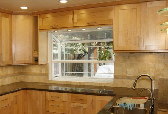love the natural maple cabinets