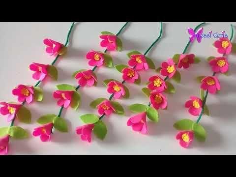 Cara Membuat Hiasan Dinding Bunga Gantung Dari Kain Flanel Dan Stik Es Krim Youtube Bunga Kertas Pembuatan Perhiasan Dinding Bunga