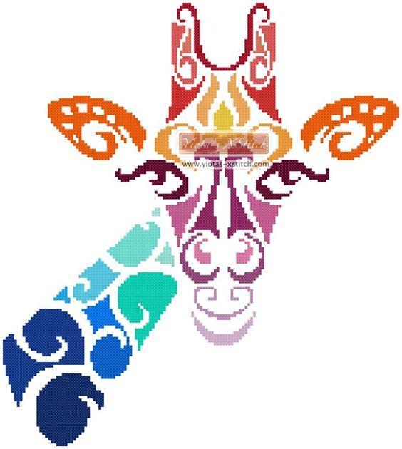 Tribal giraffe cross stitch kit