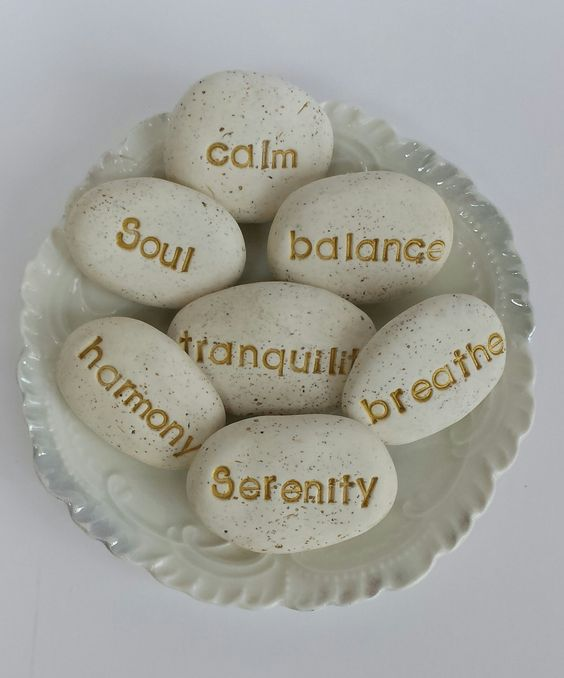 Decorative spa stones yoga decor yoga art spa art by ABoxOfRocks, $14.00