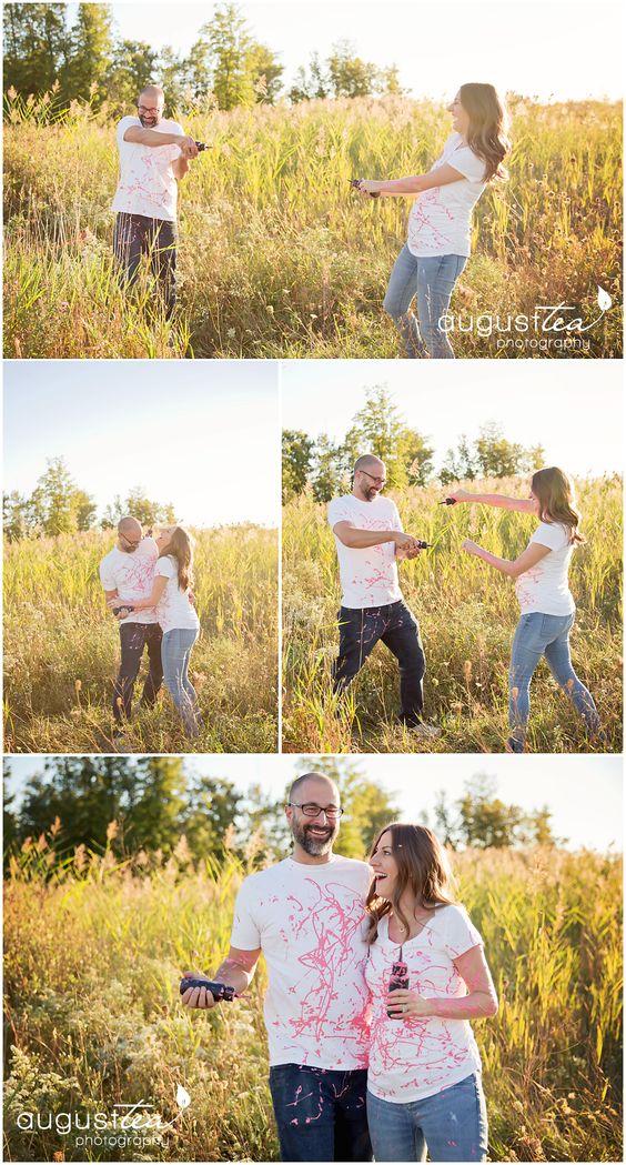 Cute Gender Reveal, Paint, Surprise!  field photography,
