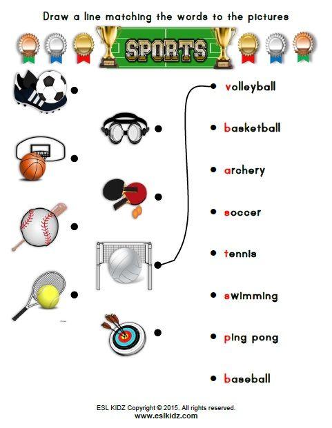 Esl Worksheets For Kids Sport Worksheets For Kids Kindergarten Worksheets Preschool Worksheets