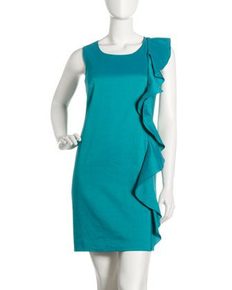 Ruffle-Front Crepe Shift Dress by DKNY at Last Call by Neiman Marcus.