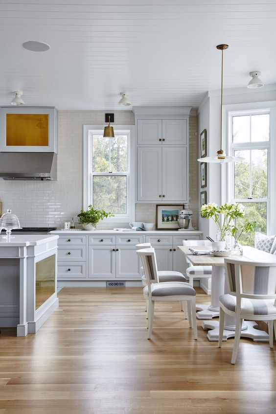 Gorgeous modern farmhouse kitchen with beadboard ceiling and grey Shaker style cabinets. #SarchRichardson #brasshardware #modernfarmhouse