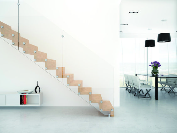 WOOD AND CRYSTAL CANTILEVERED STAIRCASE AIRA BY RINTAL