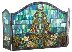 Castle Wall and Vines Stained Glass Fireplace Screen