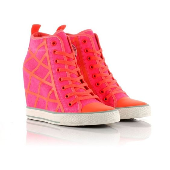 DKNY Wedge Hi Top Trainers ($71) ❤ liked on Polyvore featuring shoes, sneakers, pink, wedges, red, pink sneakers, wedges shoes, red sneakers, red wedge sneakers and red wedge shoes