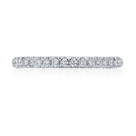 Tacori HT2545B Petite Crescent Pave Wedding Band (11.575 BRL) ❤ liked on Polyvore featuring jewelry, rings, white gold jewelry, white gold jewellery, white gold pave diamond ring, pave diamond ring and white gold rings