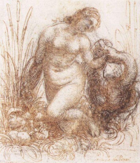 Study for a kneeling Leda by Leonardo da Vinci #art