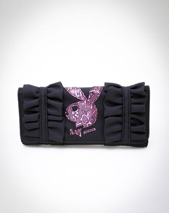 Playboy Bunny Head Ruffle Checkbook Wallet