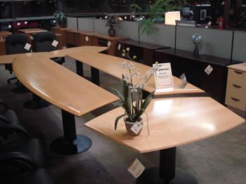 an awesome modular conference table lends flexibility to your conference room the light stained. Black Bedroom Furniture Sets. Home Design Ideas