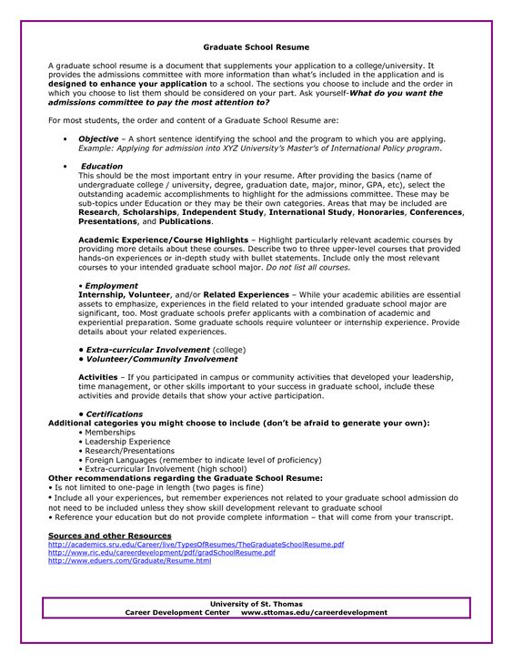 Graduate School Admissions Resume Sample - Http://Www.Resumecareer