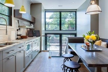 I like the wall of glass and the back splash. contemporary kitchen by Beauparlant Design inc
