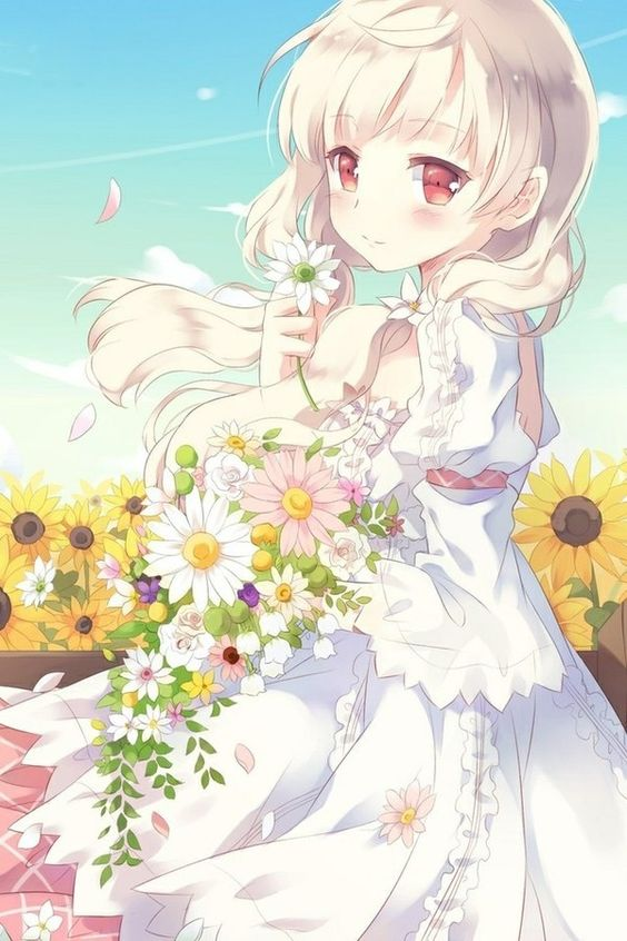 ✮ ANIME ART ✮ summer time. . .long hair. . .in the breeze. . .summer dress. . .flowers. . .flower petals. . .nature. . .sky. . .cute. . .moe. . .kawaii: