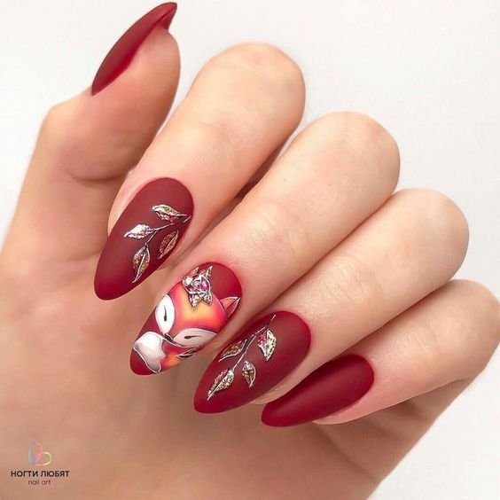 Pin By Sarah Ramos On Manikyur In 2020 Fall Nail Designs Matte Nails Design Red Nails