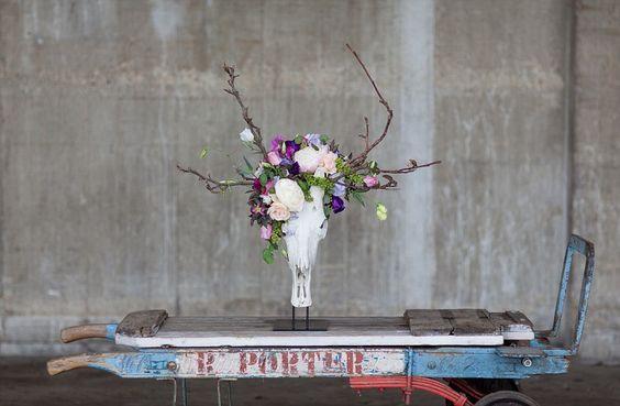 British Flowers Week: lisianthus in skull_Jessica Simmonds and Chikae Okishima