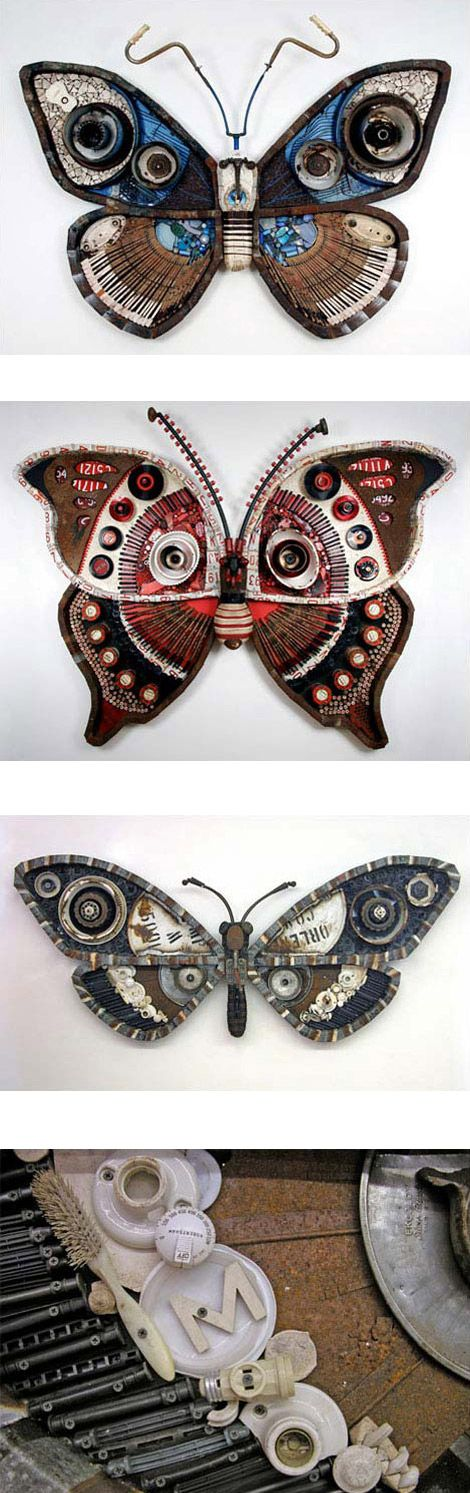 Steampunk butterflies  whoa! found object artist extraordinaire paula tipped me off to these supercool moth series of wall sculptures, made from repurposed objects by ohio artist michelle stitzlein. these pieces are cobbled together in the most pristine way from old piano keys, tin cans, license plates and bicycle tires, among other things.  http://www.roadsidescholar.com/2008/12/22/michelle-stitzlein-sculpture/