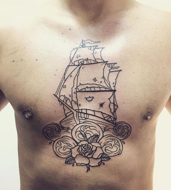 Follow and tag @inkedmagz to get featured First step #vanz #vanztattoo #ink #tattoo #tattoos #ship #shiptattoo #lines #chest #chesttattoo by vanz_tattoo