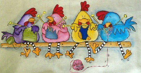 This is titled a 'Cluck of Knitters' - How clucky is that?