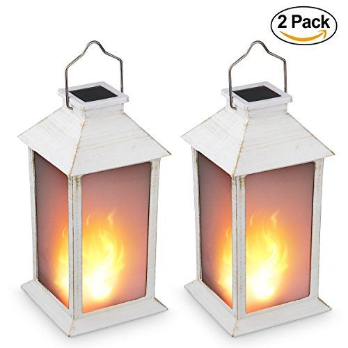 13 Vintage Style Solar Powered Candle Lantern Metallic Coating White Plastic Solar Garden Light With Vivid Fire Effect Outdoor Solar Hanging Lantern Decorativ Solar Hanging Lanterns Decorative Solar Lanterns Lantern Candle Decor