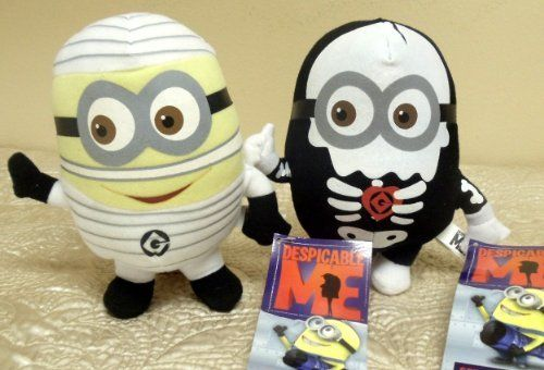 """Hard to Find Adorable Despicable Me Halloween Scary Plush Set Featuring 6"""" Despicable Me Skeleton Minion Doll and 6"""" Despicable Me Mummy Minion Doll by Toy Factory, http://www.amazon.com/dp/B005MHRO8W/ref=cm_sw_r_pi_dp_.YI8pb1Q97107"""