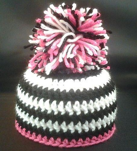 Zebra Hat Knitting Pattern : Pink zebra baby beanie crochet hats pinterest