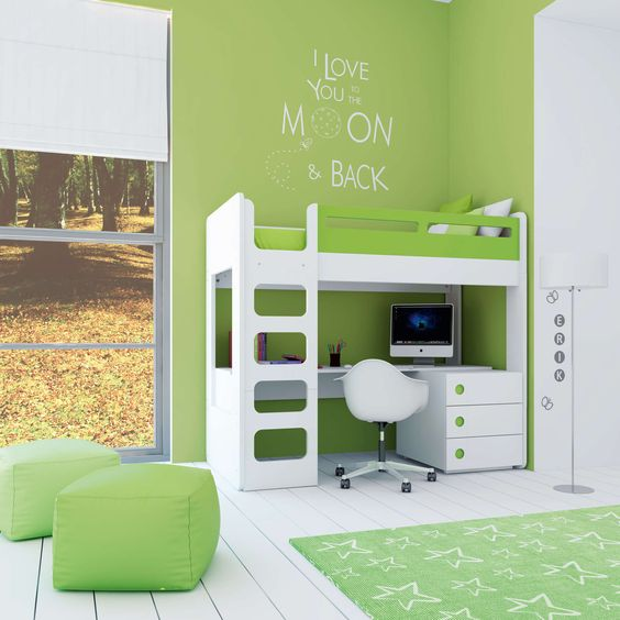 Habitaciones juveniles para ni os en color verde descubre - Literas juveniles con escritorio ...