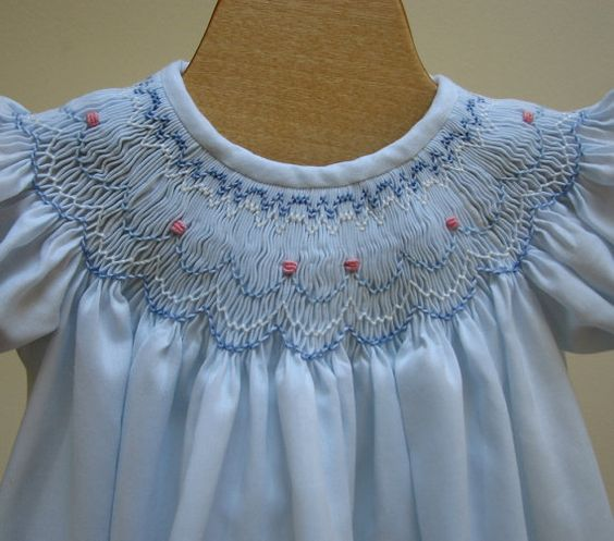 Smocked Bishop Blue Batiste Dress 6 Month Ready To Ship