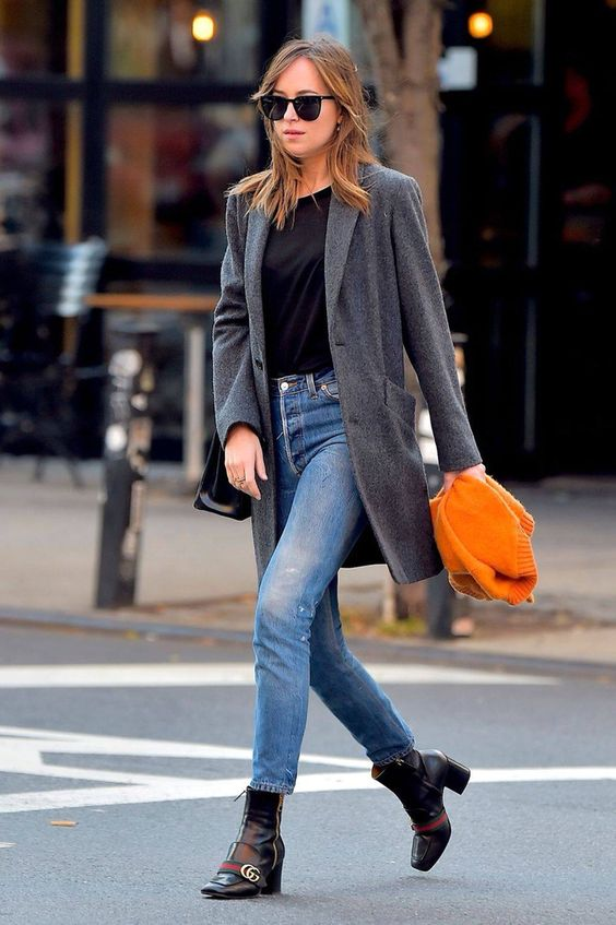 Straight leg girlfriend jeans with ankle boots