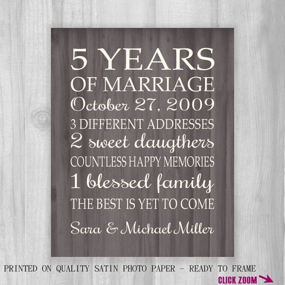 5th anniversary gift print faux wood 5 years 10 15 20 for 5th wedding anniversary ideas