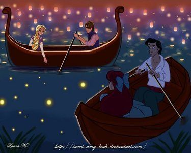 """Disney Crossovers <3 """"And at last I see the light!"""" """"Come on and kiss the girl"""""""