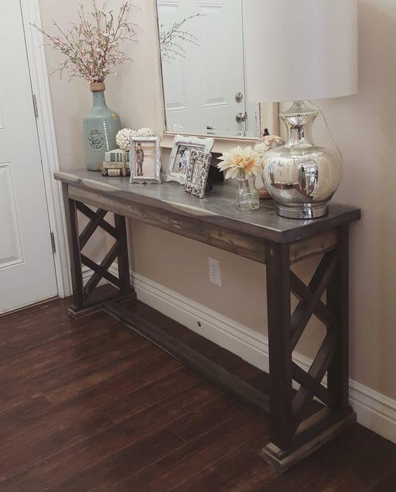 rustic farmhouse entryway table sofa table by ModernRefinement