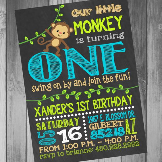 Monkey Birthday Invitation Boy 1st Boy First Birthday Jungle Birthday Invitation Chalkboard Birthday Photo Birthday  Little Monkey by CLaceyDesign on Etsy https://www.etsy.com/listing/226091019/monkey-birthday-invitation-boy-1st-boy