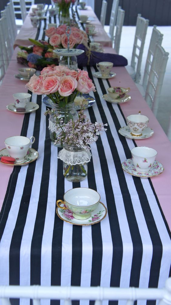 Black and white striped table runner and tea cups bridal for Kitchen tea table setting ideas