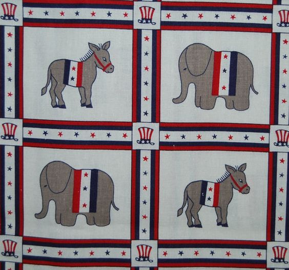 REPUBLICAN DEMOCRAT vote politcal donkey elephant fabric by Judie Rothermel for Marcus Brothers