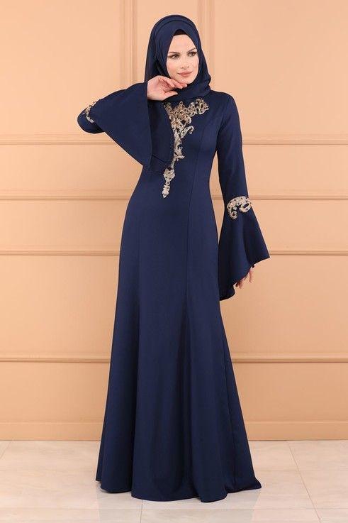 Abiye Volan Kol Gupurlu Abiye Msw8659 Indigo Elbise Elbise Modelleri Bohem Kiyafetler