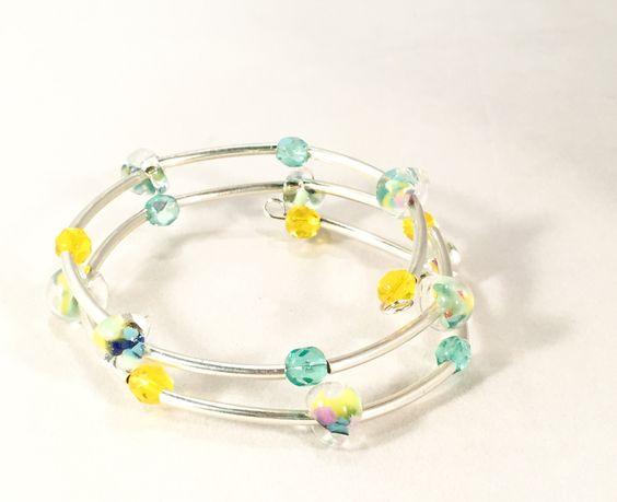 Sterling Silver Memory Wire Bracelet,Lampwork Beaded Bangle, Artisan Jewelry, Beaded Bangle Bracelet, Sterling Silver Fashion Jewelry by TiazasTreasures on Etsy