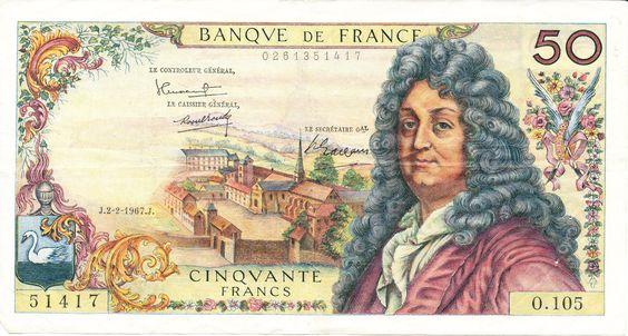Un billet de 50 F (environ 7,5 €) mais ce billet de 1967 représenterait l'équivalent de 60,30 € en fonction de l'érosion monétaire due à l'inflation.
