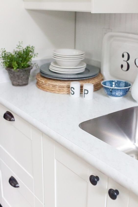 White Carrara Laminate Countertop | The Lettered Cottage