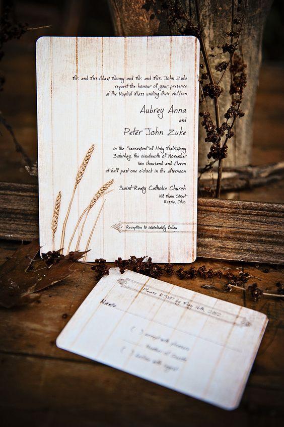 Rustic Wedding Invitations - Wheat on Vintage Wood - SAMPLE